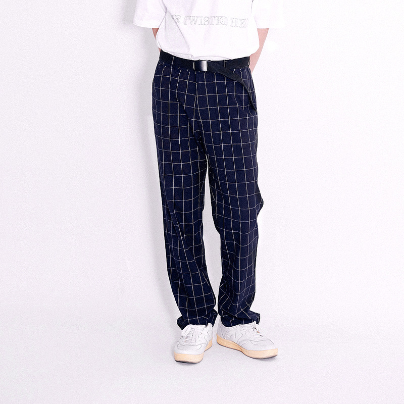 Window Pain Check Wide Slacks (Navy)
